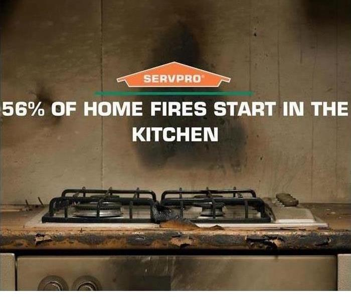 This is a photo of a stove that caught fire. It has the SERVPRO logo on it and says that 50% of fires start in kitchens